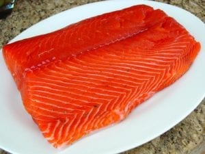 Salmon after three hours of curing