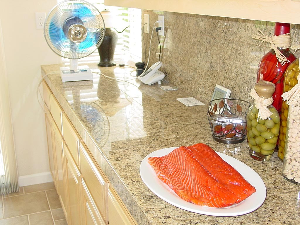 Using a electric fan to dry the salmon fillet