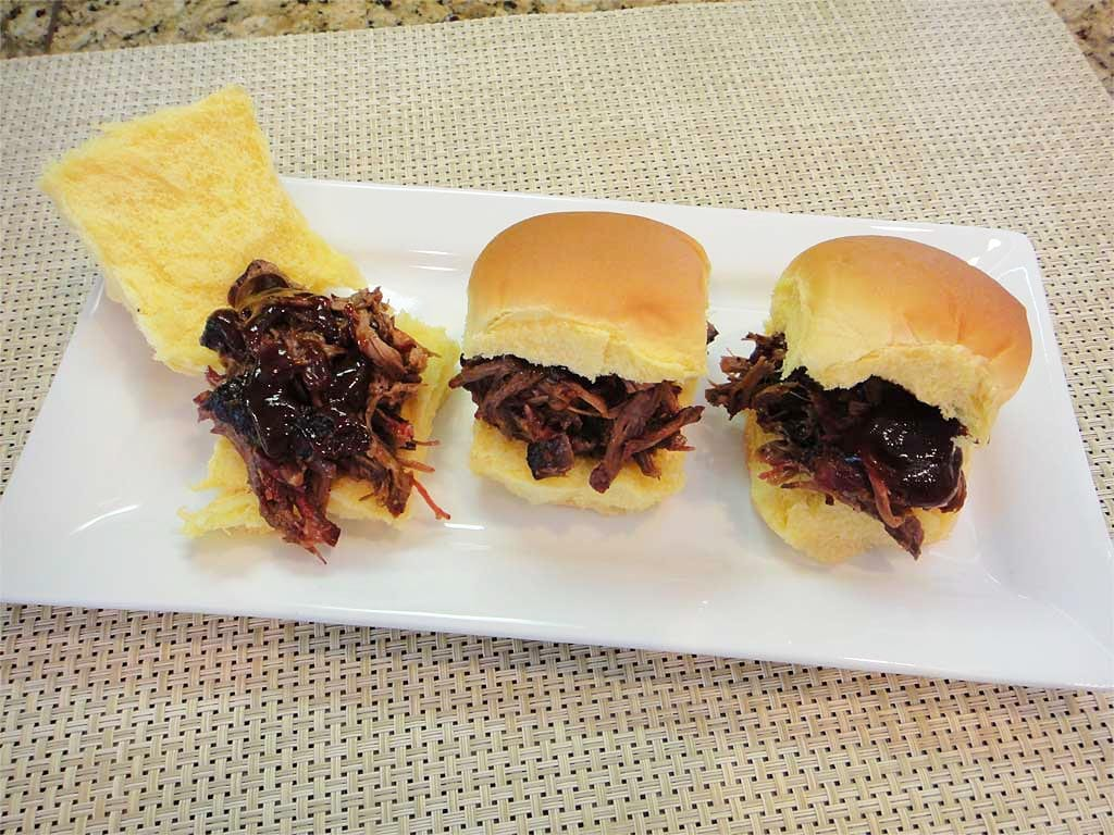 3 shredded barbecued beef sliders