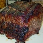 Beef rib roast after searing in the oven