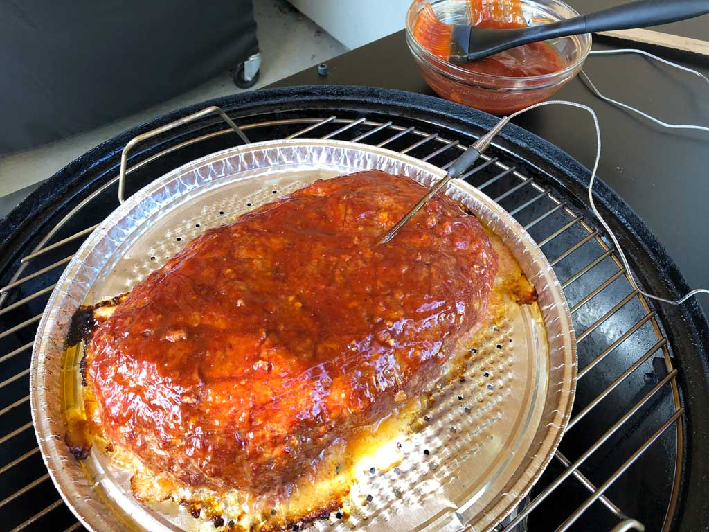 Meatloaf slathered with sauce