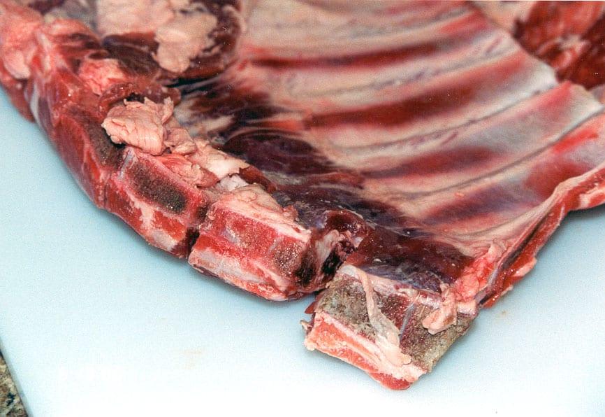 Sternum (breast bone) sawn by butcher
