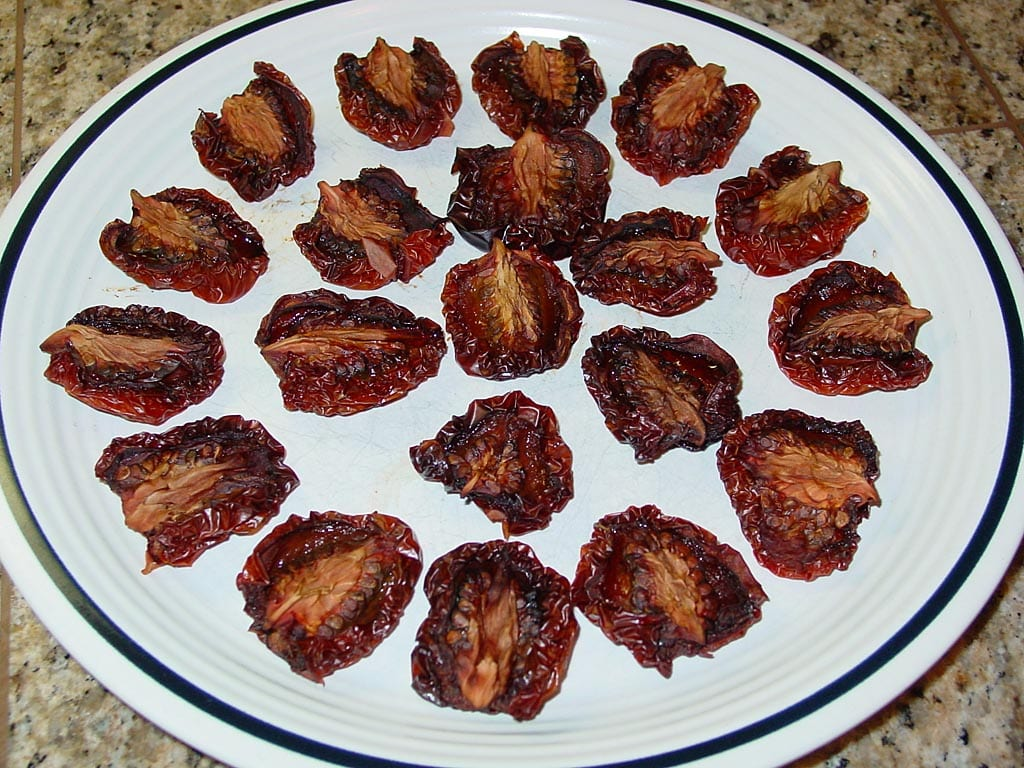 Plate of smoke-dried tomatoes