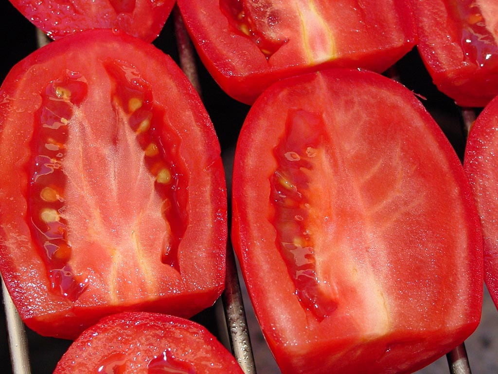 Close-up of tomato halves