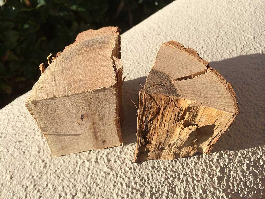 Two chunks of oak smoke wood