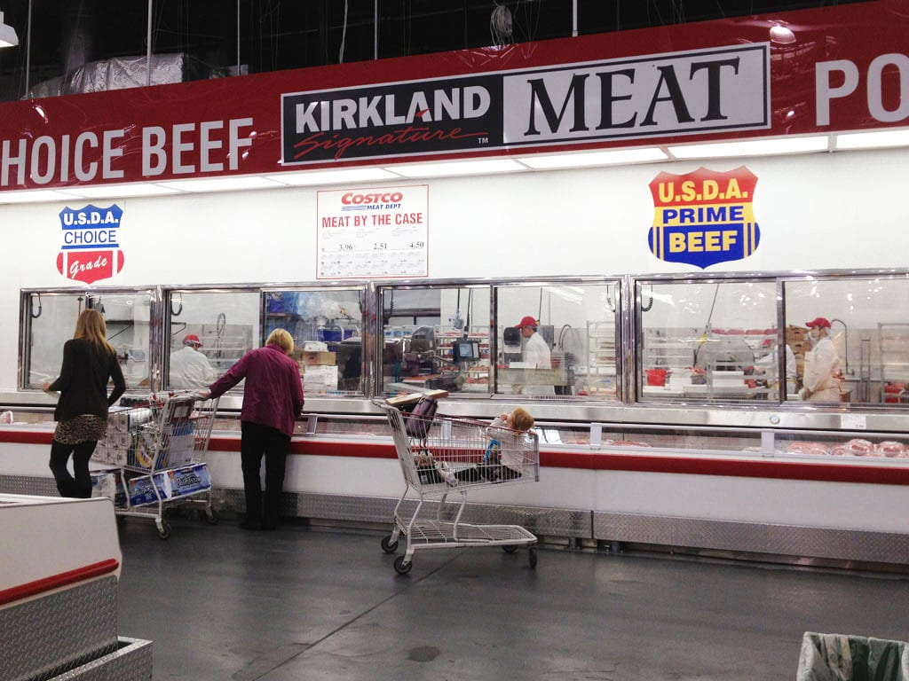 USDA Choice and USDA Prime signage at Costco meat department