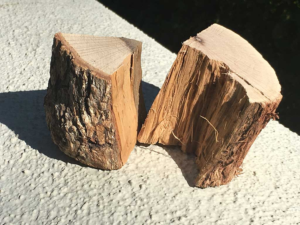 Two chunks of dry oak smoke wood