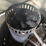 Lighting 30 briquets in upside down chimney starter