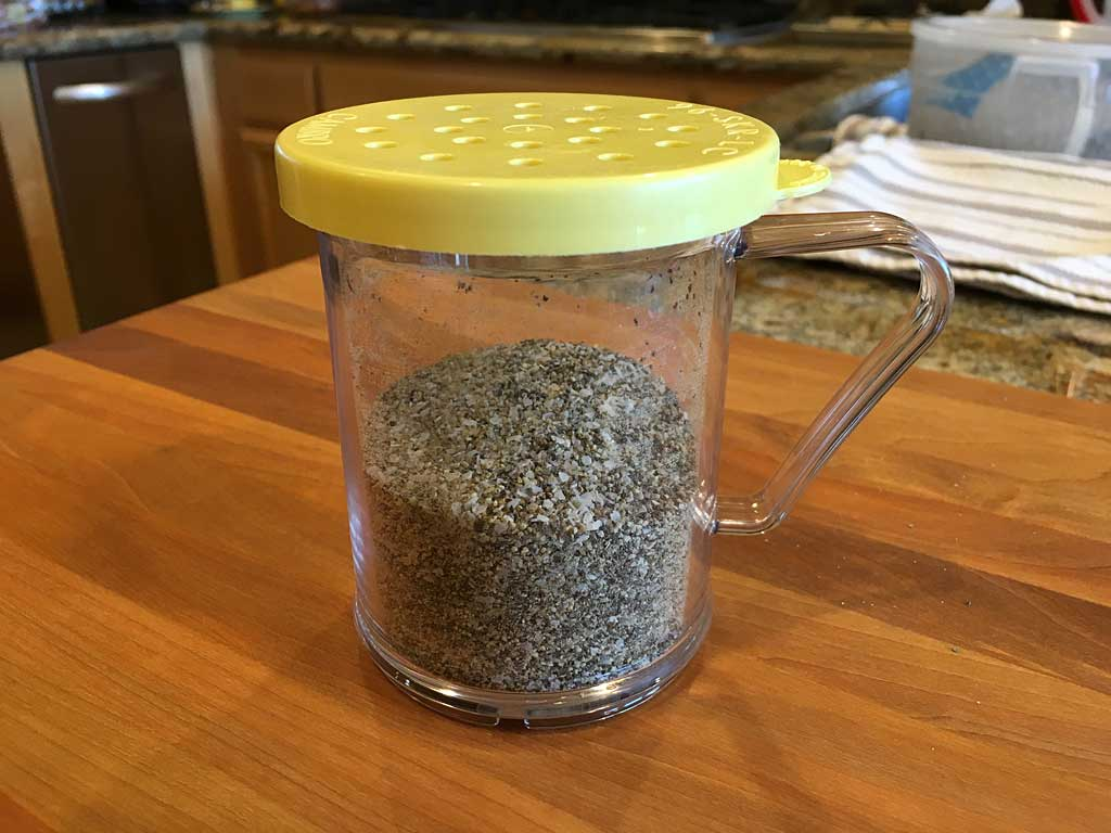 Kosher salt & pepper combined in a shaker