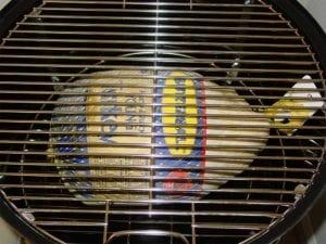 12-14 pound turkey on bottom grate