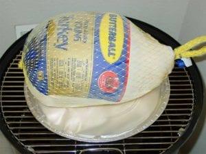 Turkey on foil pan on top grate