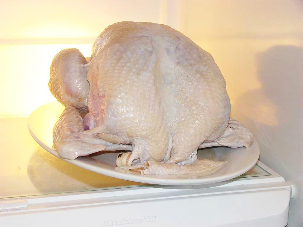 Air-drying the turkey for 24 hours in the refrigerator