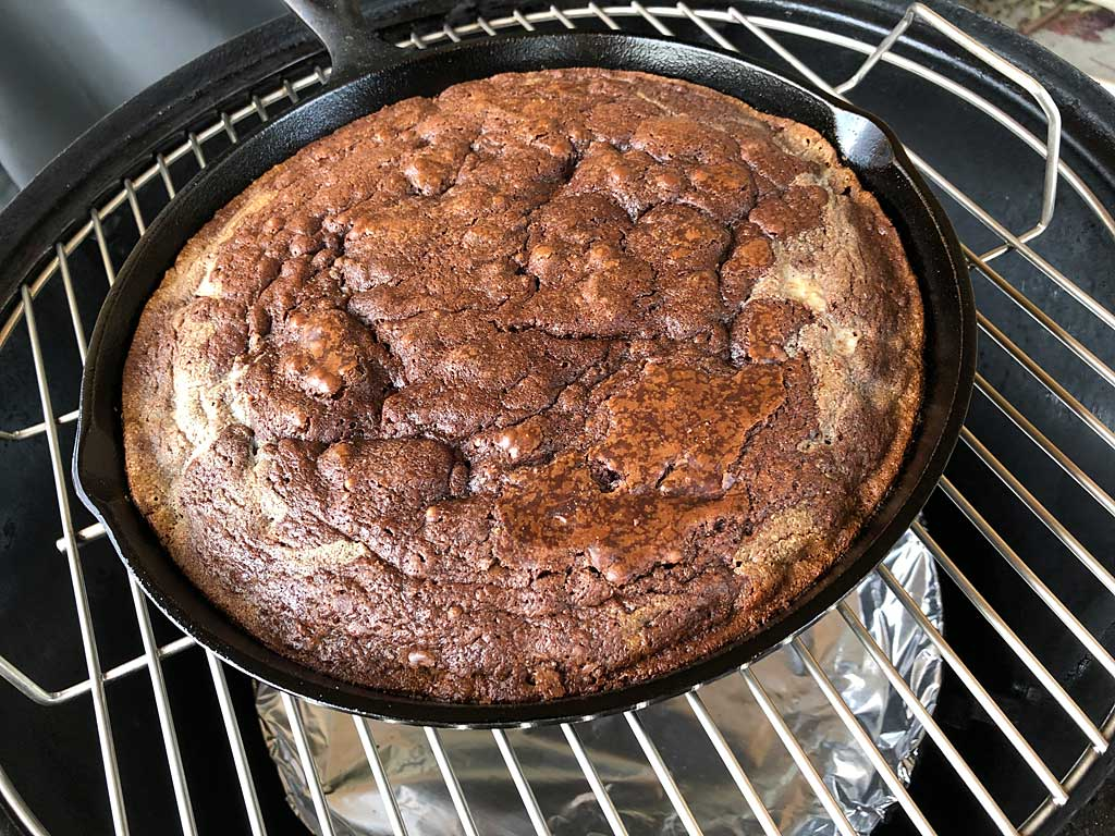 Baked brownies in cast iron skillet in WSM