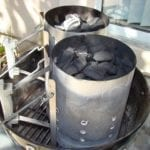 Firing two Weber chimneys of Kingsford charcoal