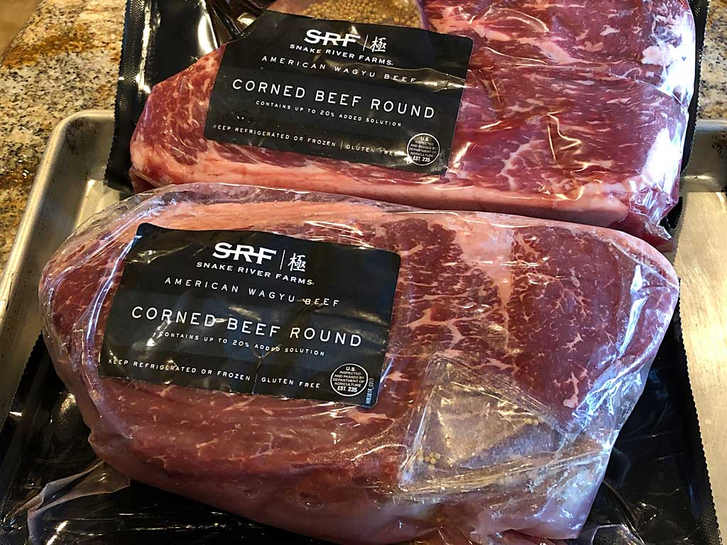 Two SRF Corned Beef Rounds in packaging