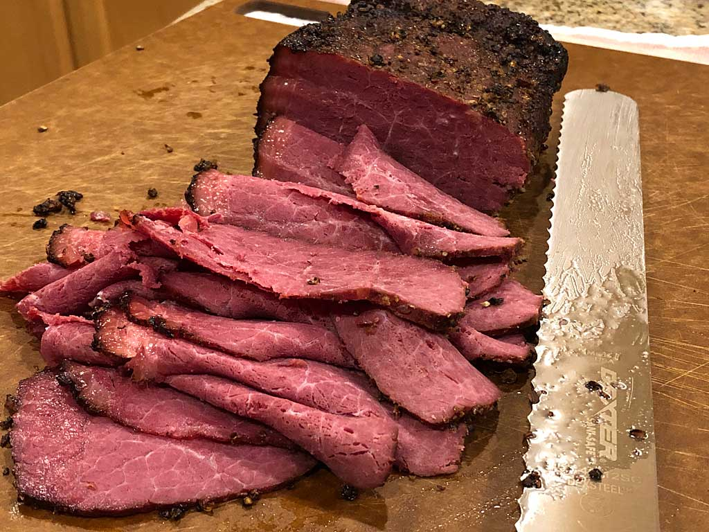 Pastrami sliced thin after a 2 hour rest