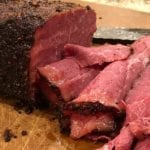 Side view of thin sliced pastrami