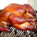 Apple-brined turkey on WSM, October 2005