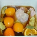 Turkey submerged in apple brine solution