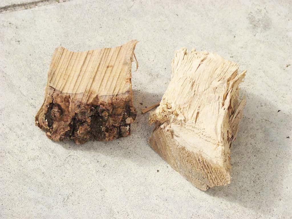 Two medium-sized chunks of dry cherry smoke wood