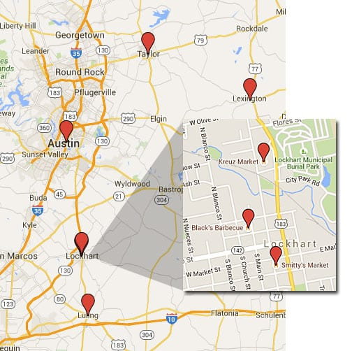Google Map of TVWB Central Texas Barbecue Crawl locations