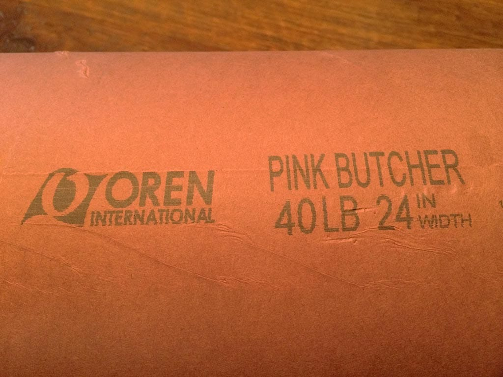 Close-up view of pink butcher paper