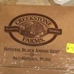 Close-up of Creekstone Farms box label