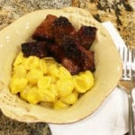 Burnt ends with mac & cheese