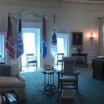 Panoramic photo of Johnson oval office replica