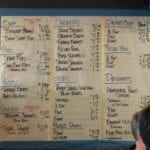 Menu written on white butcher paper