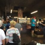 Customers in line at Louie Mueller Barbecue