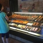 Display case of donuts