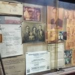 Display case containing old photos