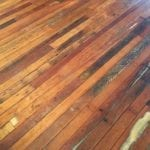 Old wooden floors in overflow dining room