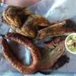 Brisket, sausage, sparerib and half chicken
