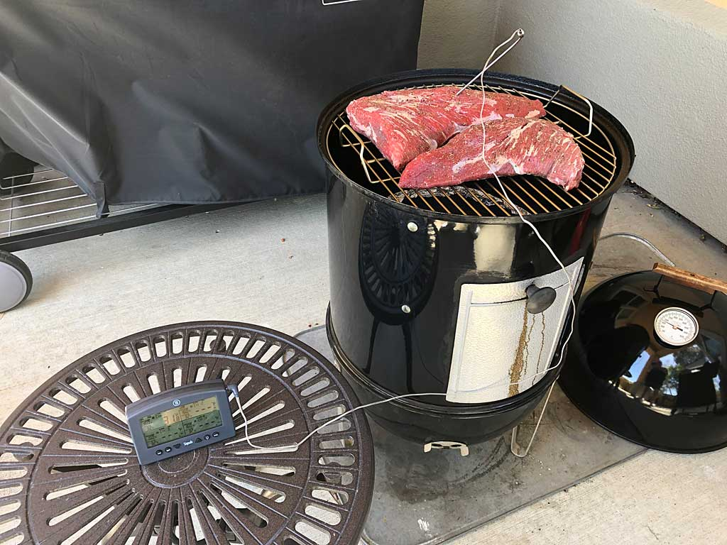Two tri-tip roasts go into the Weber Bullet