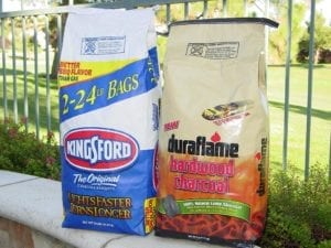 Kingsford Briquettes and Duraflame Lump in bags