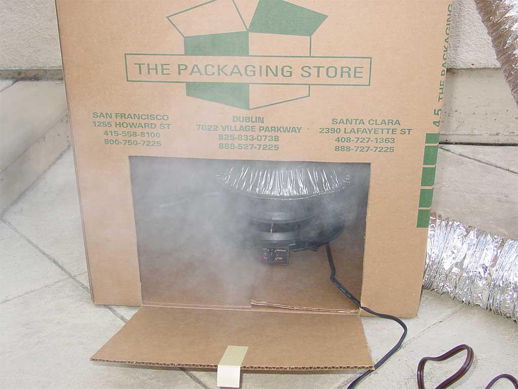Smoke forming inside the box