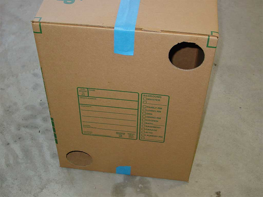Two holes cut into side of box