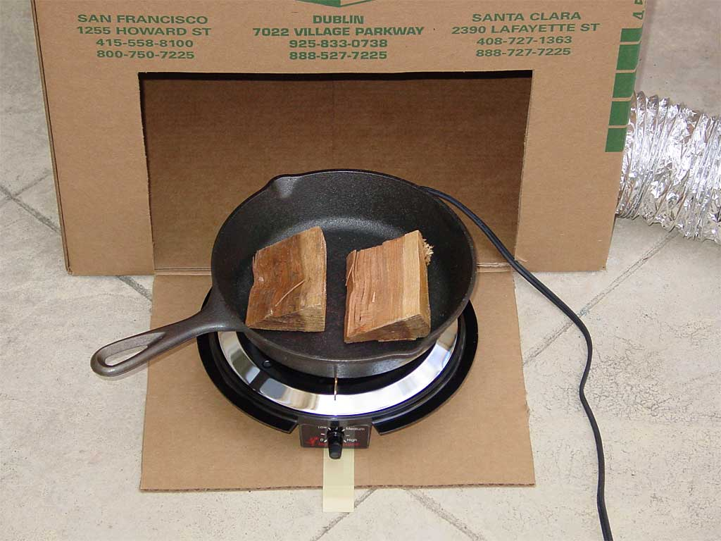 Putting hot plate and skillet into the box
