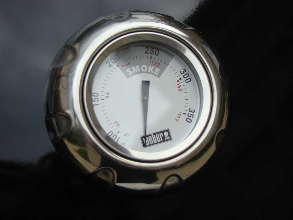 Close-up view of thermometer and bezel