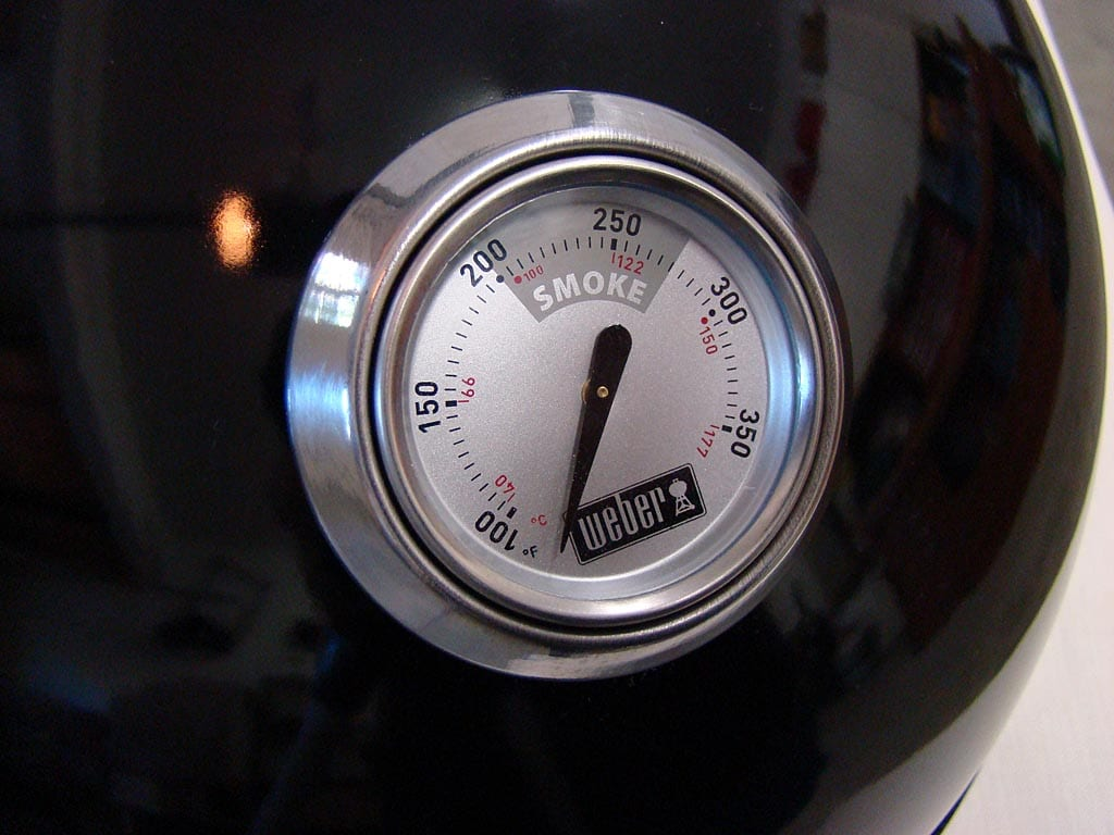 Close-up of lid thermometer