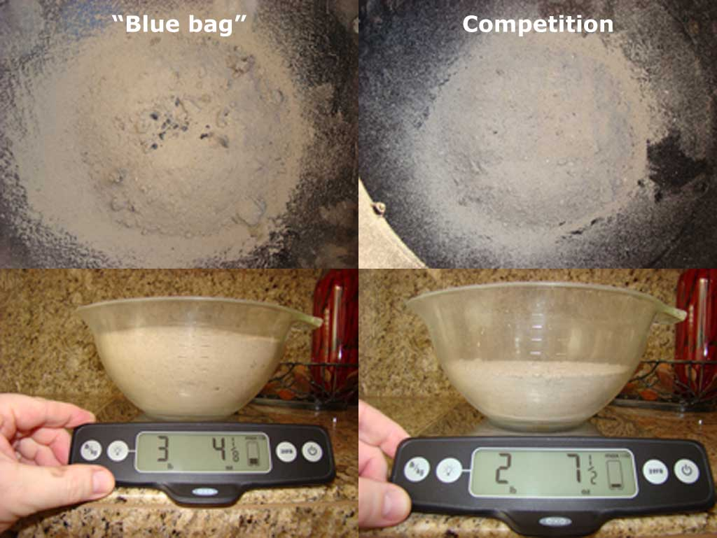 "Visual comparison and weight comparison of ""blue bag"" Kingsford and Competition Briquets"