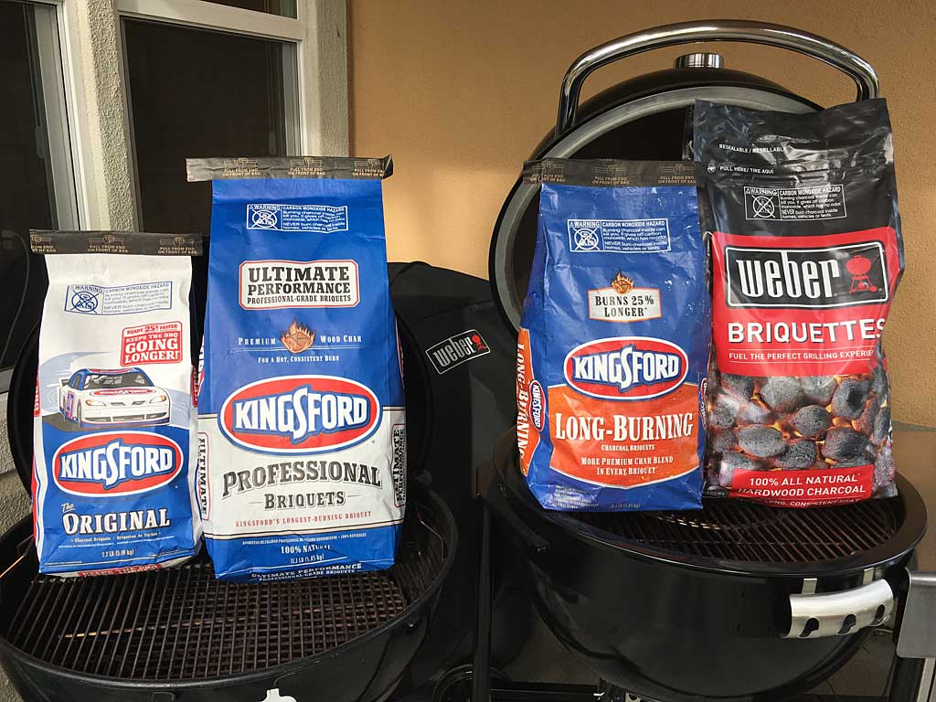 From left to right: Kingsford Original, Kingsford Professional, Kingsford Long-Burning, Weber 100% All-Natural Hardwood