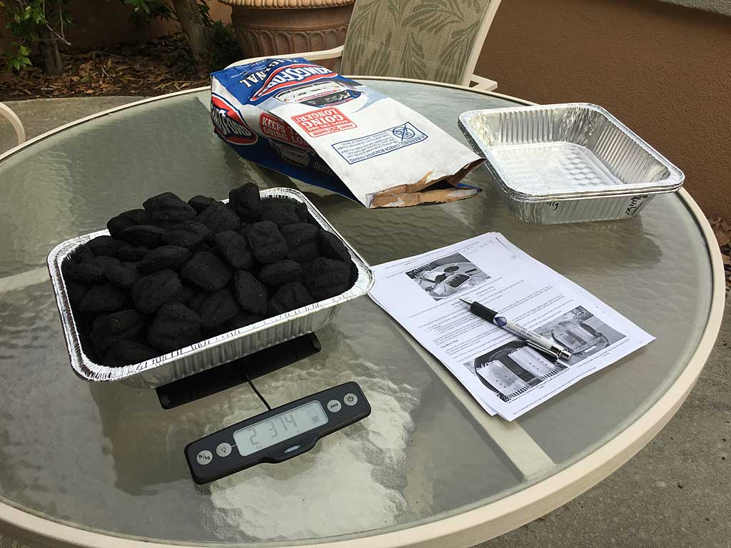 Counting out and weighing 100 Kingsford Original Charcoal Briquets