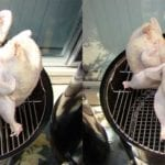 """Beer can chickens on top grate, 18"""" left, 22"""" right"""