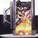 Cutaway chimney showing paraffin cubes burning