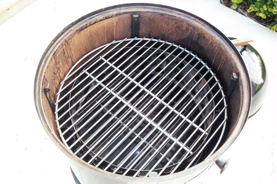 Second charcoal grate inserted
