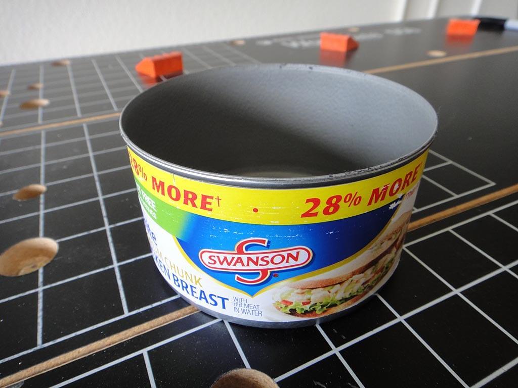Short, wide steel can