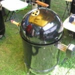 "Lid on 18-1/2"" WSM with motor and spit handle"